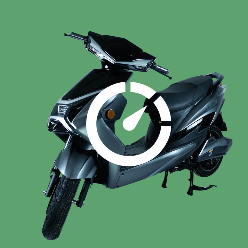 Bild eines Elektrorollers mit Drosselungssymbol
